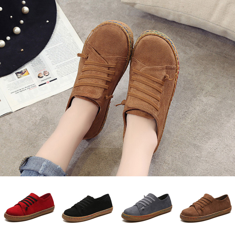 1fefd55bc5b 2018 Autumn Women Casual Flat Heels Shoes Woman Fashion Red Loafers Lazy  Student Boats Flock Slip On Shoes -in Women s Flats from Shoes on  Aliexpress.com ...