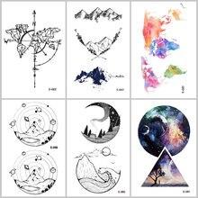 f6d513e9e Wyuen Universe Waterproof Temporary Tattoo Stickers Planet Alien Rockets  Stars Fake Tattoos Man Women Body Art 9.8*6cm Tatoo
