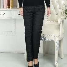 f691b436894 Kantoor Plus Size Hoge Elastische Taille Slanke Streep Straight Down Broek  Dikkere Witte Eendendons Vrouwen Vintage Pantalon Pal.