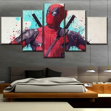 Deadpool 5 Piece Science Fiction Cartoon Movie Paintings Canvas Wall Art for Home Decor HD Print Modern Decorative