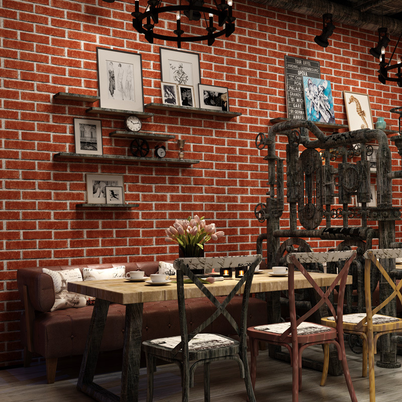 100*55cm Rustic Vintage 3D Faux Brick Wallpaper Roll Vinyl PVC Retro Industrial Loft Wall Paper Red Wallpapers For Living Room