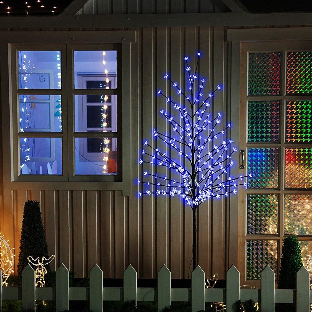 Blu 180 cm Altezza Natale del LED Cherry Blossom Albero di Natale HA PORTATO Albero di Vacanza All'aria Aperta Festival di Cerimonia Nuziale Del Partito Giardino Decorazione Di Natale
