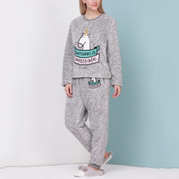 Autumn Winter Adult Unicorn Pajamas Flannel Pyjama Suit Sets Sleepwear Cartoon Animal Thick Bundle Plush Pijama