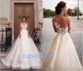 Robe de mariage Vestido de Novia Largo 2017 Manga Corta A-line Tribunal Tren Apliques de Tul Vestidos de Novia Vestido de noiva