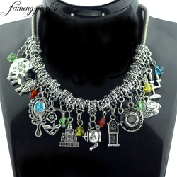 feimeng jewelry Beauty and the Beast Choker Necklace Lion Rose Flower Belle Mirror Castle Kettle Accessories Necklace For Women