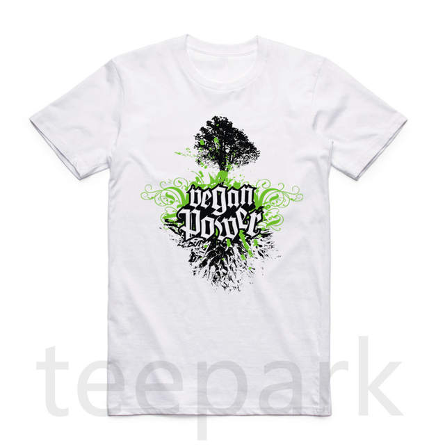 acdc0591abc06 US $7.45 22% OFF|Asian Size Printing Vegan Power GREEN POWER T shirt O Neck  Short Sleeve vegetarian vegetable Tshirt For Men And Women HCP4434-in ...