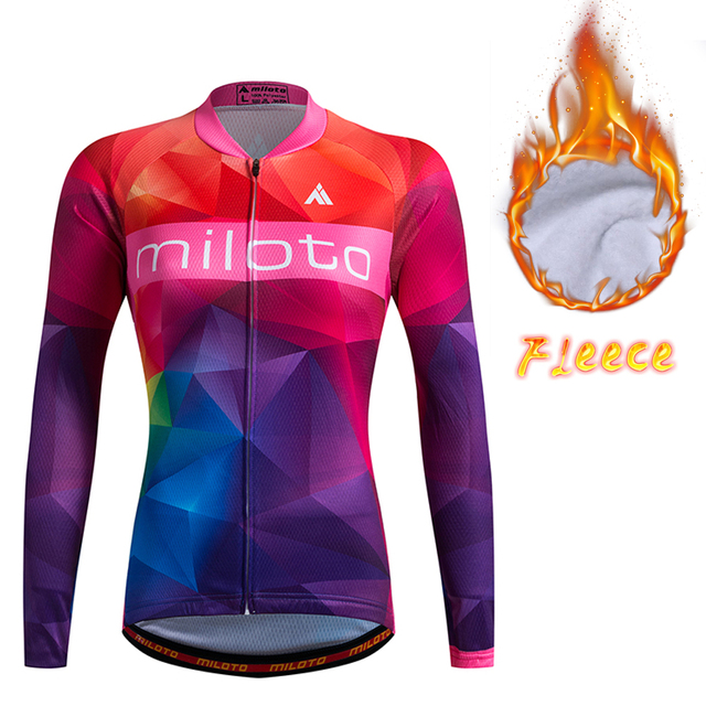 615b51997 Womens Long Sleeve Thermal Fleece Cycling Jersey MILOTO Team Ladies Cycling  Jerseys Warmer