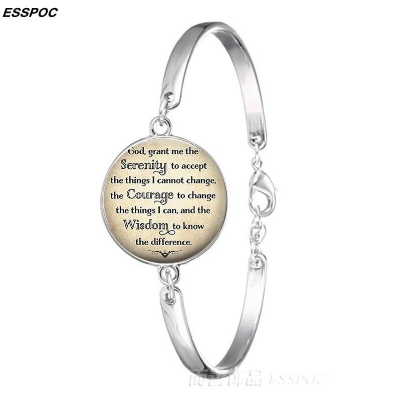 Браслет «Молитва о душевном спокойствии», браслет на запястье,  религиозная цитата, браслет с серебряным металлическим покрытием,  женский браслет, новое модное летнее украшение, украшенияbangles  womenwrist braceletplated bracelet