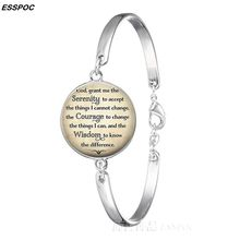 Serenity Prayer Wrist Bracelet Religious Quote Metal Plated Bracelet Bangle Womens New Fashion Summer Decoration Jewelry