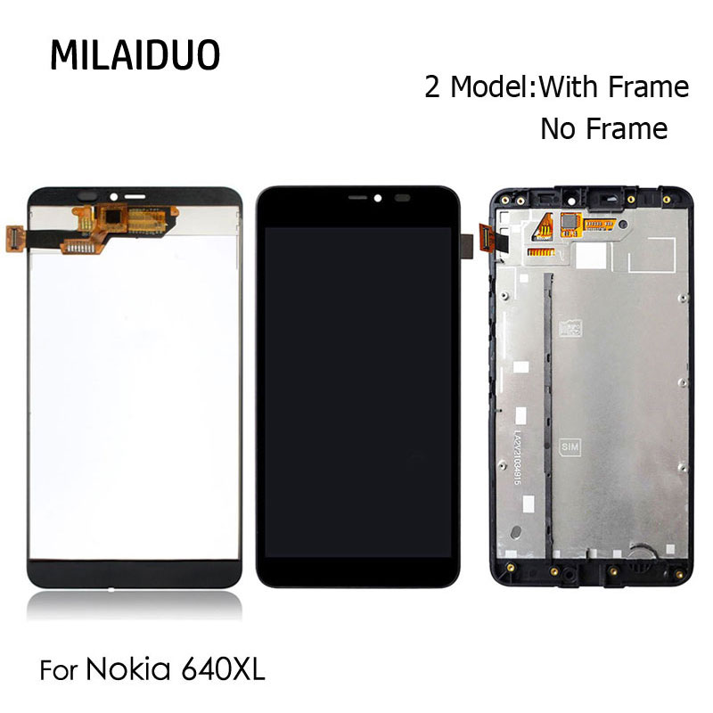 LCD Display For Microsoft Nokia <font><b>Lumia</b></font> <font><b>640XL</b></font> 640 XL LCD Touch Screen Digitizer with Frame Replacement Parts Assembly Black image