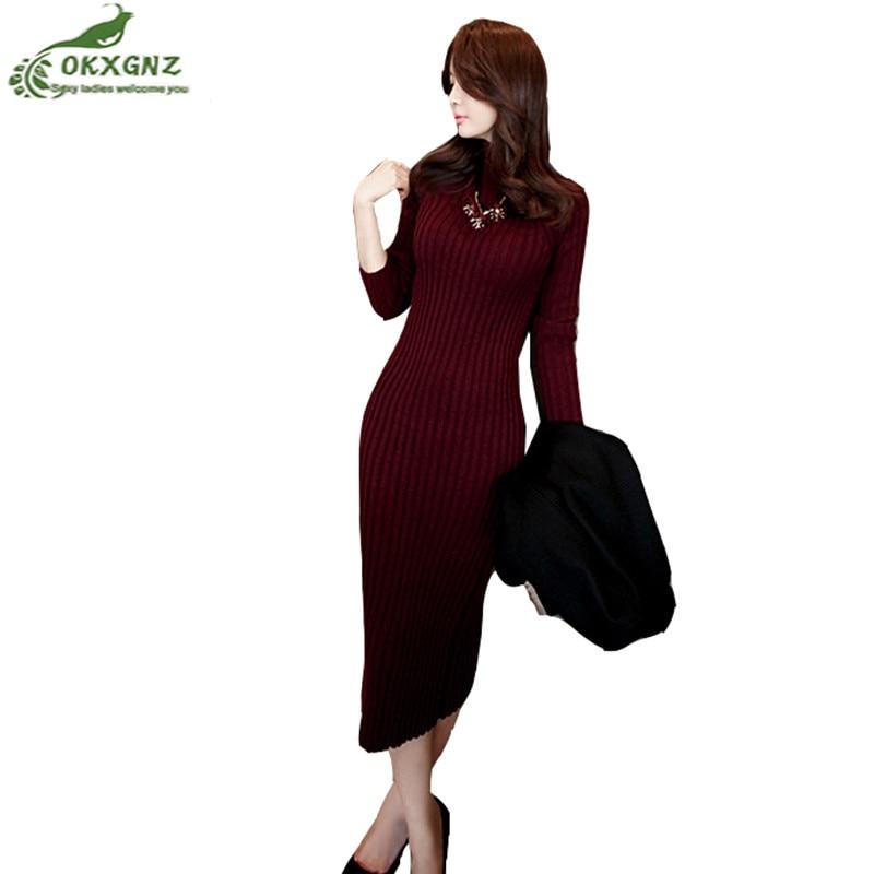 Autumn winter new women knit dress fashion package hip Slim semi-high collar thickened warm sweater primer dress long OKXGNZ