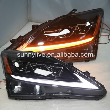for Lexus IS250 IS350  LED Head Lamps with Projector Lens 2006-2010 YZ Black Housing
