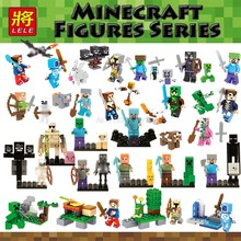 Minecraft Legoing Minecraft Zombie Creeper Spider Skeleton Ghast Magma Cube Elder Guardian Legoing Figures Blocks Kids Toys Gift(China)