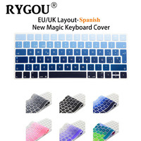 Rainbow Gradient Solid Colors Spanish Magic Keyboard Silicone Keyboard Cover Sticker For Apple New Magic Keyboard