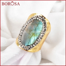 BOROSA Free shipping new Labradorite Cuff Ring pendangt pave with cz on edeged Fashion druzy bang ring Gold Color  JAB129