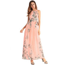 European 2018 Summer Will Code Suit-dress New Pattern Chiffon Party Dress  Longuette On Vacation Sandy Beach Printing Oodji Vadim 849a8583b1f0