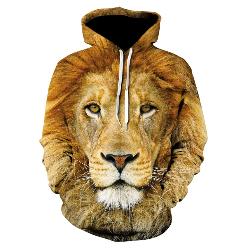 Men's New Animal-print Hoodie 3d Lion Head Hoodie For Fall, 2019 Brand Hoodie Fashion Tracksuit Street Coat