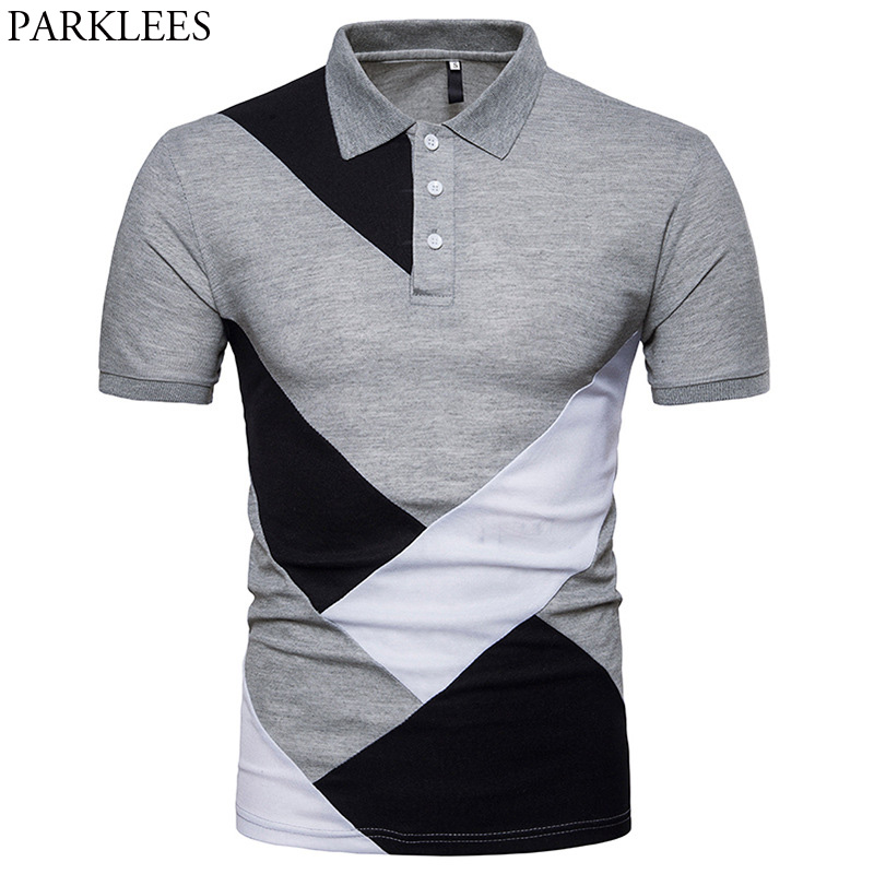 Fashion Patchwork   Polo   Shirt Men 2018 Summer New Slim Fit Short Sleeve   Polos   Shirt Casual Brand Tops Tee Camisa   Polo   Masculina