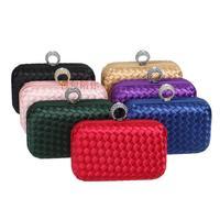 New Woven Evening Bag Clutches Wallet Party Purse Evening Clutch Girly Crystal Bling Diamond Bag Luxury bolsa feminina embrague