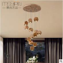 Led solid wood chandelier Nordic living room lamp modern simple fashion new era restaurant chandelier(China)