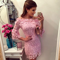 2017 New Fashionable Women Pink Lace Dress Half Sleeve Lace Mini Vestidos De Venda Slash Neck Slim Elegant Plus Size Lace Dress