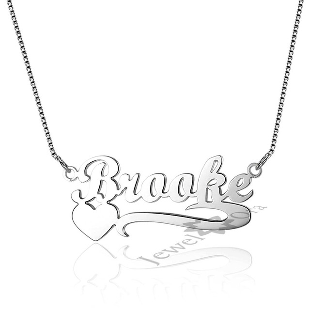 Personalized Birthstone Gifts Custom 925 Silver Name Engraved Necklace Jewelry For Women DIY Necklace