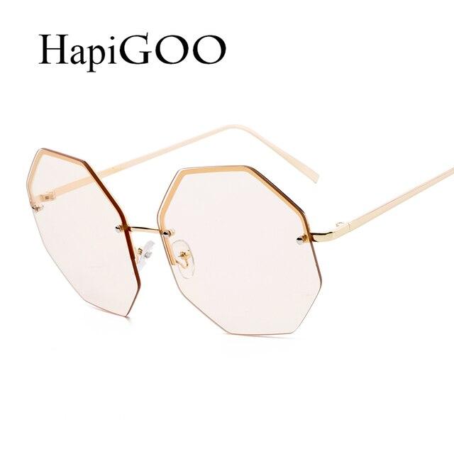 bf31420807305 HAPIGOO 2018 Nouveau Surdimensionné lunettes de Soleil Sans Monture Femmes  Marque Designer Grande Taille Octagon Gradient