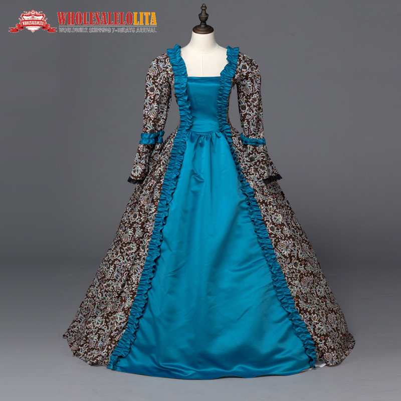 Queen <font><b>Elizabeth</b></font> I Medieval Renaissance Print Ball Gown Game of Thrones <font><b>Dress</b></font> Theatrical Clothing
