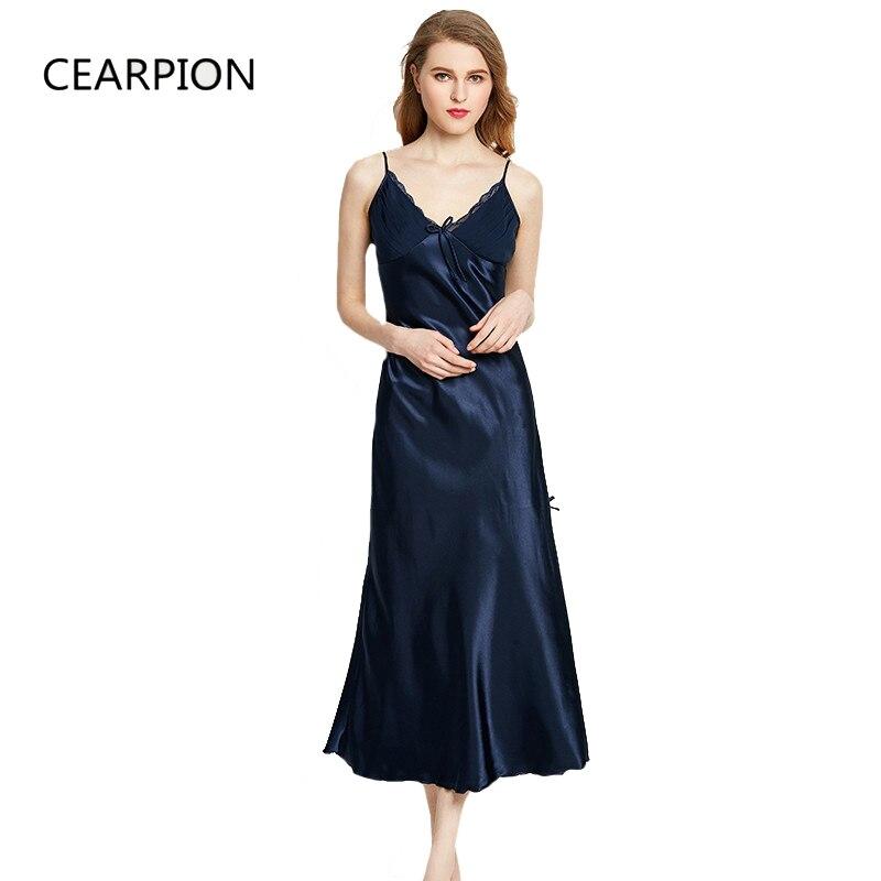 df7818f715 CEARPION Women Nightgown Long Nightdress Sexy Lace Nightwear Faux Silk  Femme Nightie Spaghetti Strap Sleepwear Plus