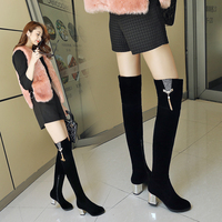 2019 New Women Boots Top Fashion Long Suede Boots Winter Round Toe Metal High Heels Size 34 43 Over The Knee Boots Full Fur