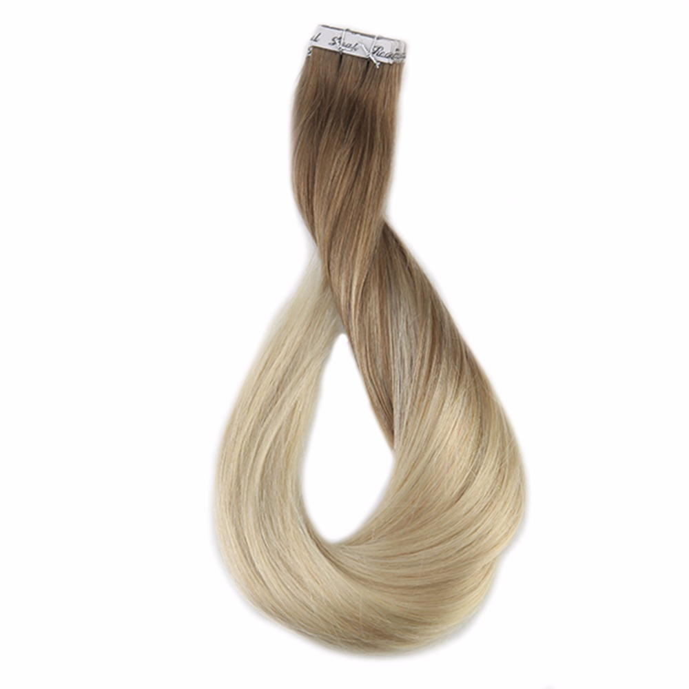 Full Shine Tape In Human Hair Extensions Balyayage Color#8 Fading To 60 Dip Dye 50g 20Pcs 100% Real Remy Hair Tape In Extensions