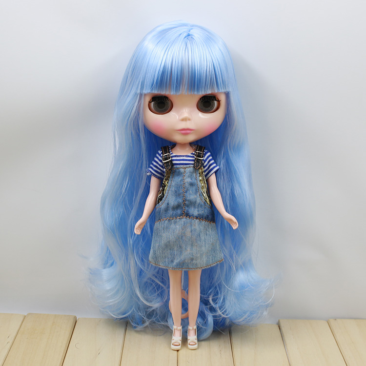 Neo Blythe Factory Nude Doll Rice Bhite+blue Hair Transparent Skin Jointed Body