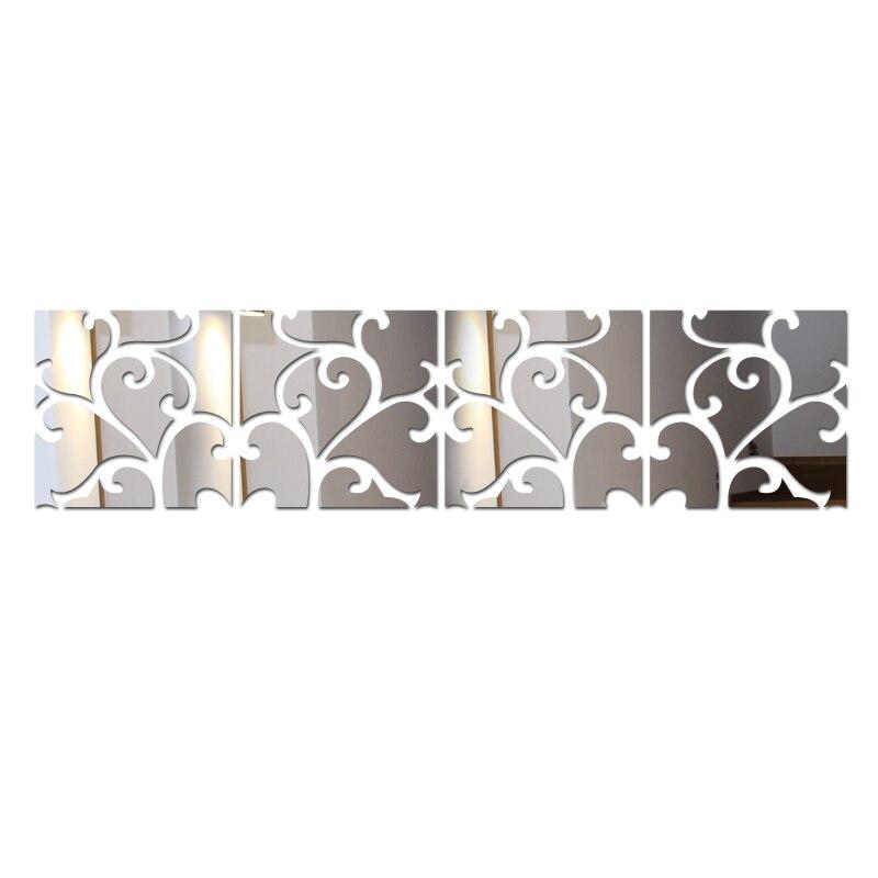 Venda quente acrílico 3d adesivo de parede adesivos diy grande plano tv pano fundo pintura decorativa espelho europa