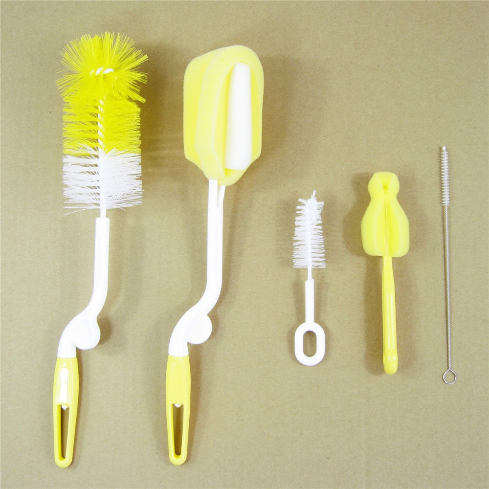 5 sets Bottle Brushes of baby bottle brush nylon sponge nipple brush suction brush 360 degree rotating cup Bottle Nipple Brushes