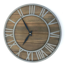 European retro wall clock wrought iron solid wood clock mute creative  living room Bar Coffee Shop Diameter 40cm стоимость