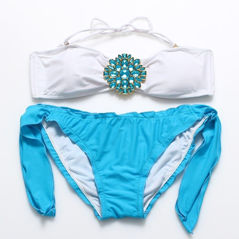 Cheap Bandeau Bikini Set Beach Summer Sexy Swimsuit Front Ruched Lace Up Ruffle Bathingsuit Bottom Swimwear