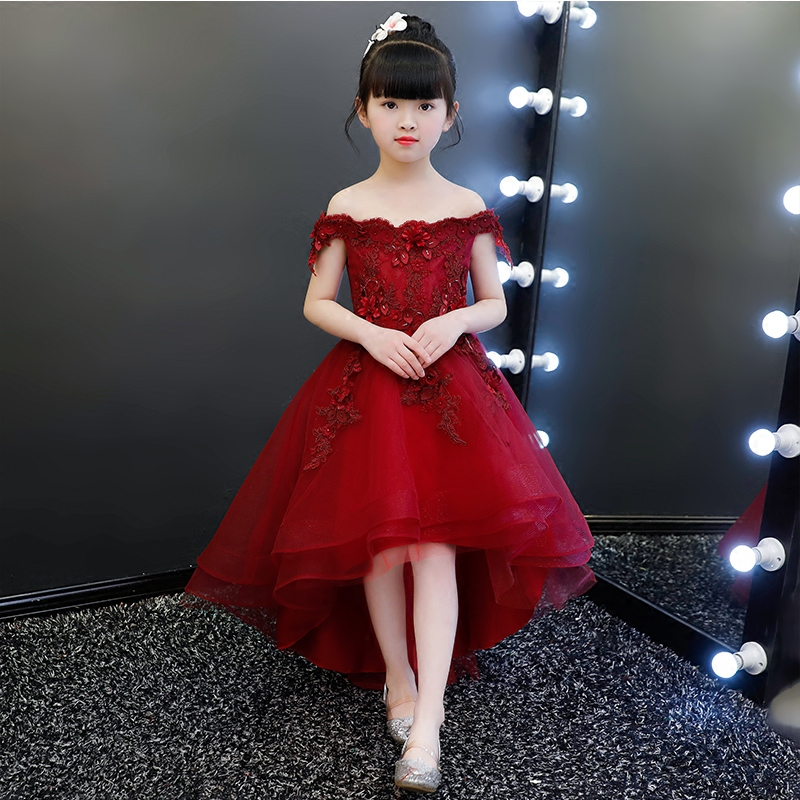 Elegant Kids Appliques Lace Flower Girls Dress Kids Pageant Party Wedding Ball Gown Prom Princess Formal