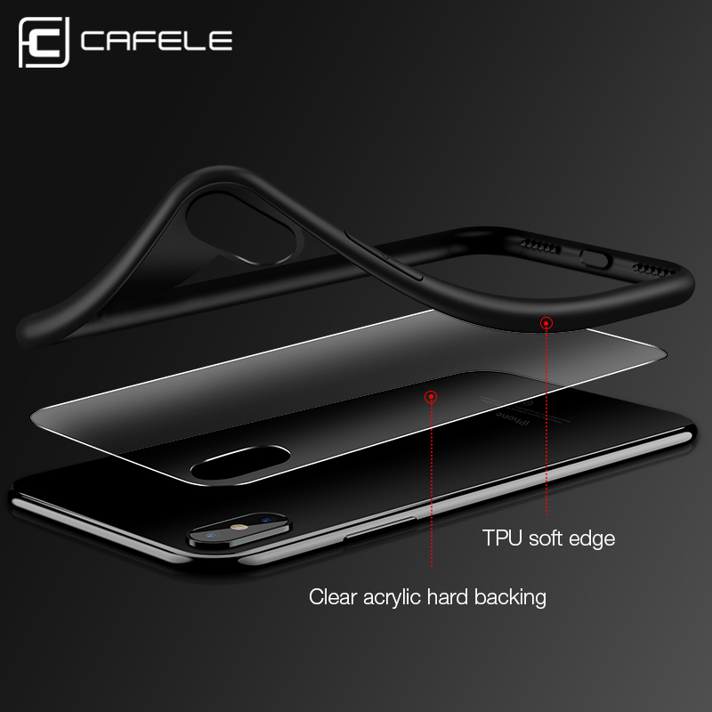 buy popular e9937 f7033 US $4.74 5% OFF|cafele Full Coverage Case for iPhone X TPU+Acrylic Fashion  Luxury Transparent Back Cover Ultra thin Shockproof Case for iphone10-in ...