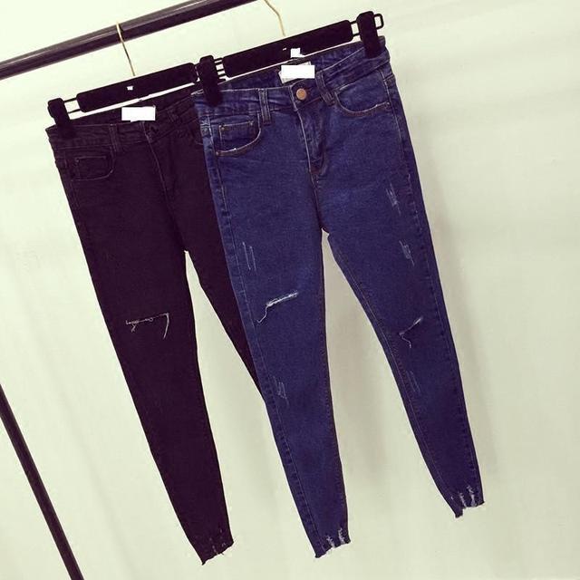 Women High Waist  Skinny Jeans Female Scratch Worn Feet Vintage Pencil Pants Women Jeans