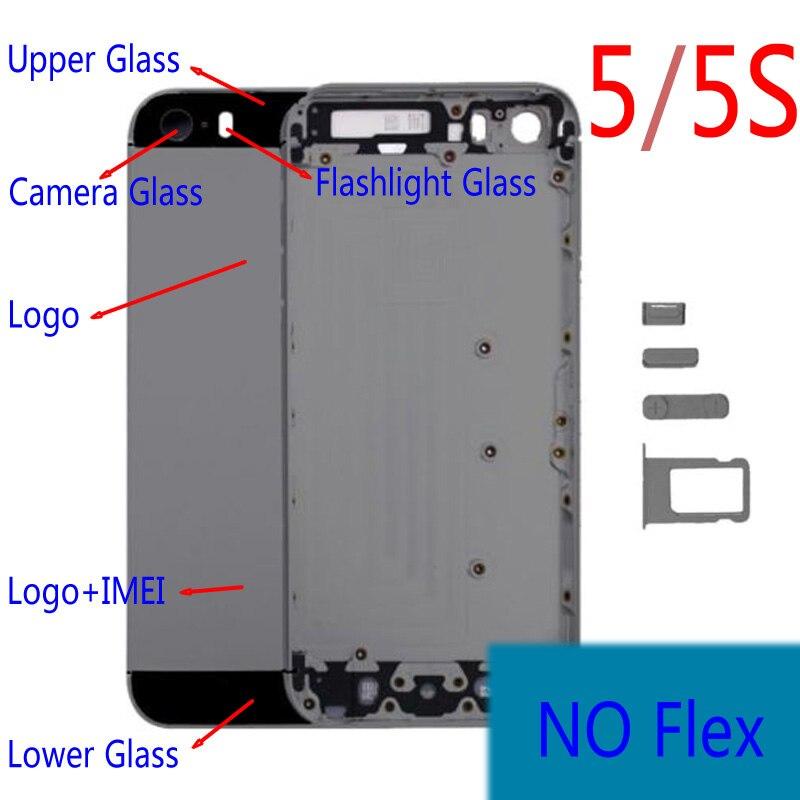 1 piezas para Apple iPhone 5 5S 5g batería trasera cubierta caso puerta trasera IMEI de reemplazo no flex con la batería original de vivienda