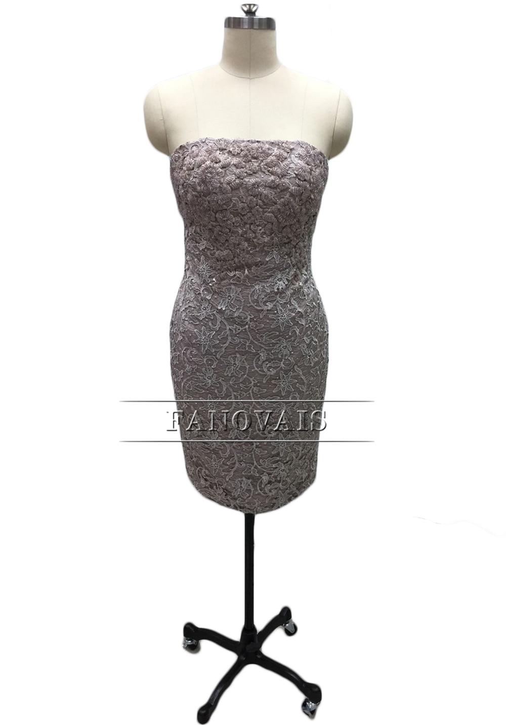 Elegant Stroppeløs Blonder Cocktail Kjoler med Lang Frakk Spesial - Spesielle anledninger kjoler - Bilde 2