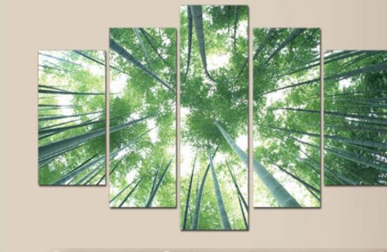 Wanddecoratie Op Canvas.Gratis Verzending Bamboe Bomen Foto Olieverfschilderij Voor
