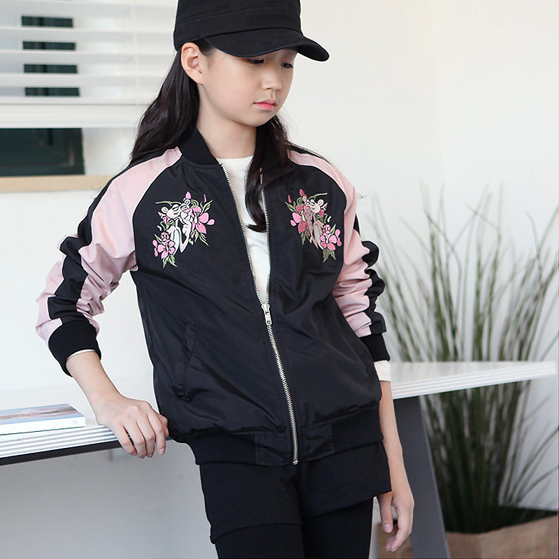 Lights & Lighting Lovely 2018 Casual Baseball Uniform Embroidery Jacket Sport Coat Girl Autumn Winter Floral Jackets Child Zipper Outerwear For 7-15yrs