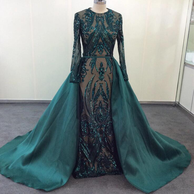 Elegant Muslim Green Long Sleeve Evening Dresses 2019 With Detachable Train Sequin Bling Moroccan Kaftan Formal Party Gown