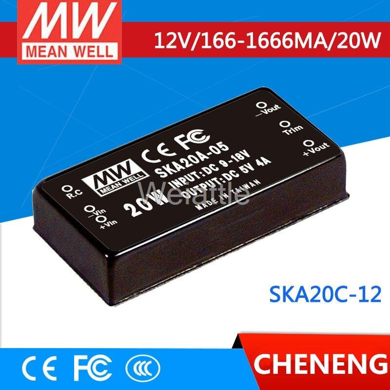 цена на MEAN WELL original SKA20C-12 12V 1666mA meanwell SKA20 12V 20W DC-DC Regulated Single Output Converter