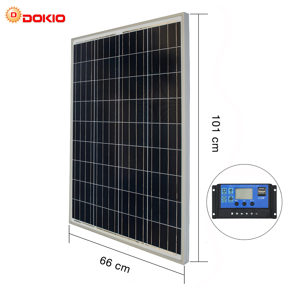 US $169 98 41% OFF|DOKIO 100W 18 Volt Solar Panel China + 10A 12/24 Volt  Controller 100 Watt Solar Panels Cell/Module/System Charger/Battery-in  Solar