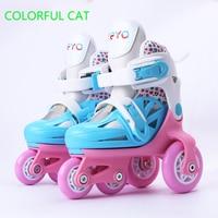 Kids Children Lovely Cute Stable Slalom Parallel Ice Skate Roller Brake Flashing Shoes Adjustable Washable Fall Prevention Girls