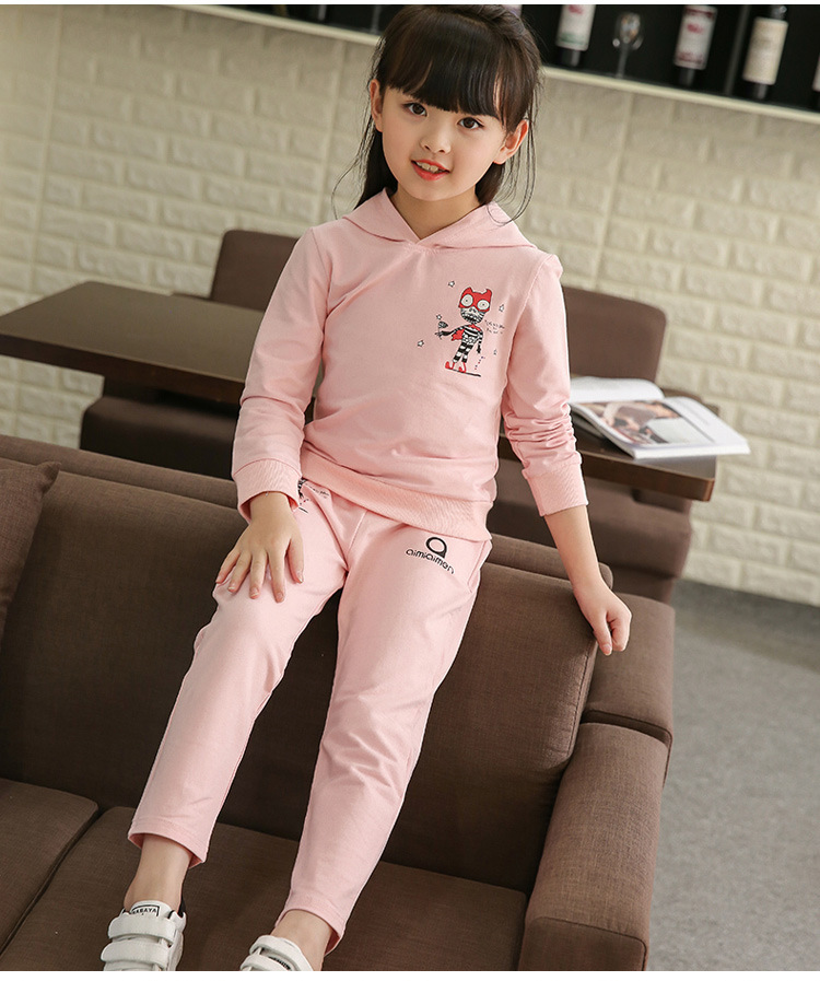 girls clothing set 2018 Spring Autumn Children's New Kids Long Sleeve Casual Sportswear Cartoon Tops + Pants baby girl clothes