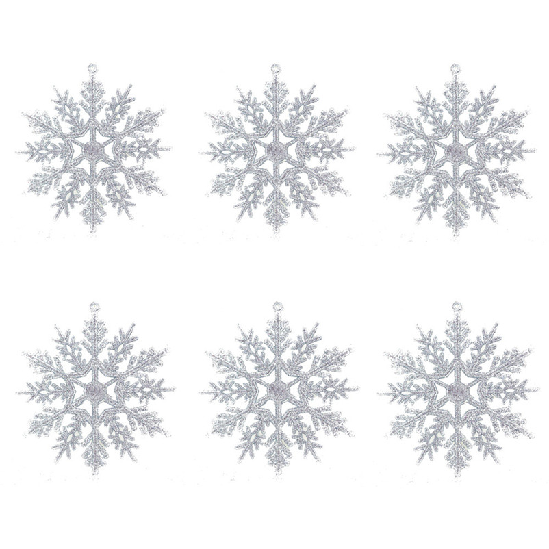 6pc Christmas Decoration Snowflakes 10cm Classic Snowflake Ornaments Christmas Tree Hanging new year Home Decor #4n14 (3)