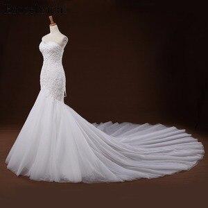Image 3 - Mermaid Lace Appliques งานแต่งงานชุดยาวรถไฟ Beading เจ้าสาว Robe de mariee ชุดแต่งงาน vestido de noiva YY105